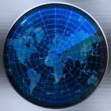 Radar ou sonar do mapa de mundo Foto de Stock