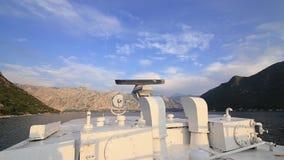 Radar på fartyget Systemet för navigering för skepp` s Kotor fjärd, lager videofilmer