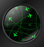 Radar with planes Royalty Free Stock Photo