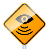 Radar road sign. Road sign warns about road video surveillance isolated in white background Royalty Free Stock Photography