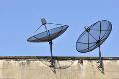 Radar Satellite receiver for TV viewing. Installed on the roof of the shelter. Are very popular vector illustration
