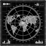 Radar screen.  Black and white illustration. Stock Photography