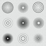 Radar screen concentric circle element set. Sound wave. Circle spin target.. Radio station signal. Center minimal radial ripple line outline Royalty Free Stock Image