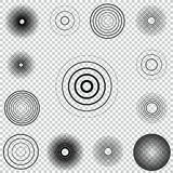 Radar screen concentric circle element set. Sound wave. Circle spin target. Radio station signal. Center minimal radial ripple line outline Stock Images