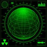 Radar screen with digital globe Royalty Free Stock Photography