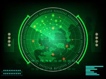 Radar screen digital interface with world map  Concept future in computer network technology time data communication on green dark. Background. vector Royalty Free Stock Photo