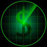 Radar screen with dollar symbol Royalty Free Stock Photo