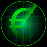 Radar screen with euro symbol Royalty Free Stock Image