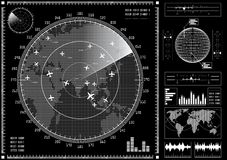 Radar screen with futuristic user interface HUD. Stock Photos