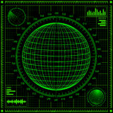 Radar screen with futuristic user interface HUD. Royalty Free Stock Photo