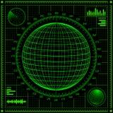Radar screen with futuristic user interface HUD. Royalty Free Stock Photo