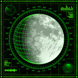 Radar screen with Moon Stock Photos