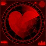 Radar screen with red heart. Royalty Free Stock Photo