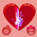 Radar screen with red heart and hand. Vector. Radar screen with red heart and hand Royalty Free Stock Image