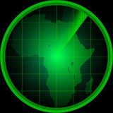 Radar screen with a silhouette of Africa Stock Photos