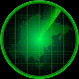 Radar screen with a silhouette of Asia Stock Photos