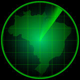 Radar screen with the silhouette of Brazil Royalty Free Stock Photo