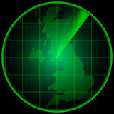 Radar screen with the silhouette of the Great Britain Royalty Free Stock Image