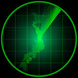 Radar screen with the silhouette of Japan Stock Images
