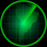 Radar screen with a silhouette of South America Stock Image