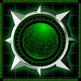 Radar screen with steel compass rose. Radar screen. Digital globe inside steel compass rose. Vector EPS10 Royalty Free Stock Photos