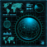 Radar screen with world map Stock Photos