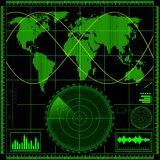 Radar screen with world map Royalty Free Stock Image
