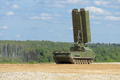 The radar. Self-propelled crawler radar in a combat position, nobody Stock Image
