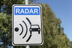 Radar signal on a road Stock Photo