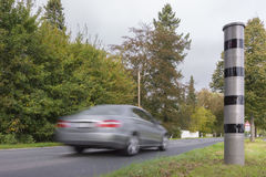 Radar speed camera. Fixed modern radar speed camera on federal highway in Germany Stock Photos