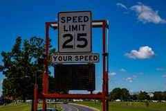 Radar Speed Check Sign. Hershey, PA - August 22, 2016: A speed radar check device near the Penn State Hershey Medical Center complex Stock Photo