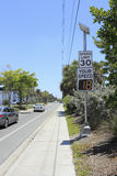 Radar Speed Display Sign. SIESTA KEY, FLORIDA - MAY 9, 2013: Your Speed, vehicle speed detector sign showing current speed of car that just passed and posted Stock Image