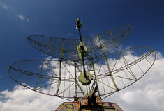 Radar station. Military radar station on a background of cloudy sky Stock Images
