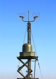 Radar station or airspace control. Military radar station of the all-around antenna and command post on a rotating platform Royalty Free Stock Image