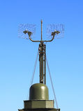 Radar station or airspace control. Military radar station of the all-around antenna and command post on a rotating platform Royalty Free Stock Images