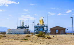 Radar Station in Ballarat. BALLARAT, USA - JULY 19: Radar station near  an old ghost town om July 19, 2008 in Ballarat, USA.  The airspace over Panamint Valley Royalty Free Stock Image