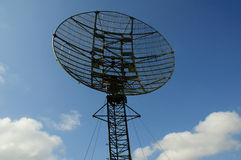 Radar station - circle form. Radar station has circle form. Radar sttion on blue sky background.Front view. Russia Stock Photography