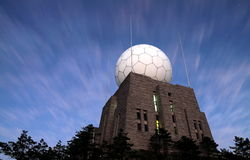 Radar station on the mountain top Stock Photos