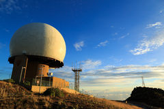 Radar station. On Pico do Arieiro, the 3rd highest mountain of Madeira, during a beautiful sunrise Royalty Free Stock Images