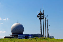 Radar station with Radome landmark Royalty Free Stock Images
