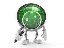 Radar toon with magnifying glass Stock Photography