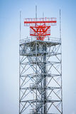 Radar Tower. A radar tower against a blue sky Royalty Free Stock Photos