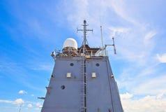 Radar tower on battleship Stock Image
