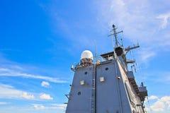 Radar tower on battleship Royalty Free Stock Photography