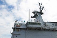 Radar tower. On the modern warship Stock Photography