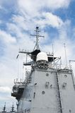 Radar tower. On the modern warship Royalty Free Stock Images
