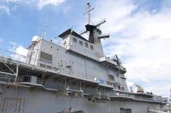 Radar tower. On the modern warship Royalty Free Stock Photo
