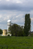 Radar tower with poplar tree on airport tempelhofer field, berli Royalty Free Stock Photos