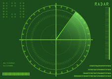 Radar. Vector illustration of a green radar with details and scanning Royalty Free Stock Photography