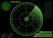 Radar. Vector illustration of a green radar with details and scanning and detected a red dot Royalty Free Stock Photography